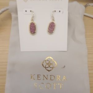 Kendra Scott Lee Fuchsia Drusy Gold Earrings